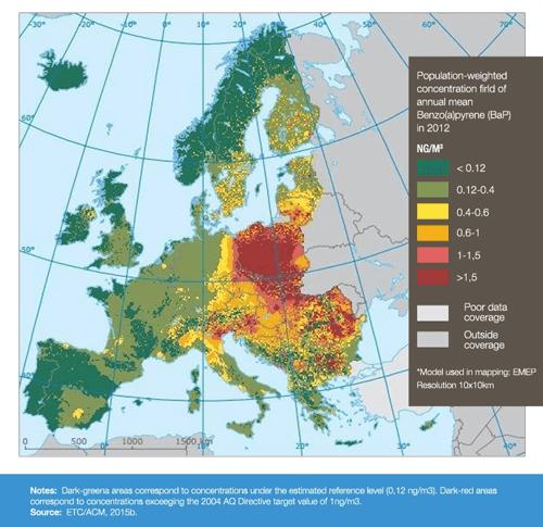 mapa smogu w Polsce i Europie