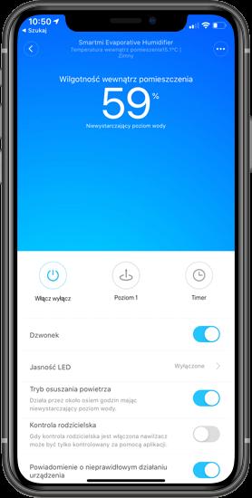 Xiaomi Smartmi Pure Evaporative zrzut z aplikacji Mi Home
