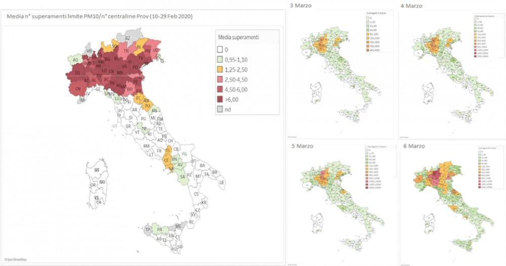 mapa zanieczyszczeń PM2,5 we Włoszech