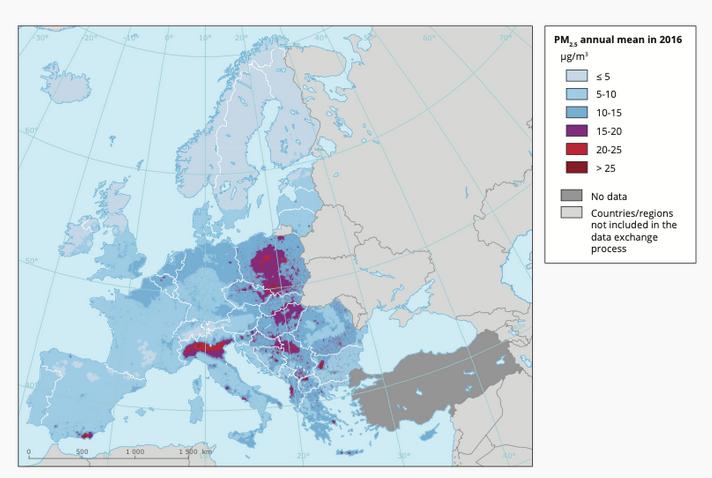 mapa Europy - zanieczyszczenie pyłami PM2,5
